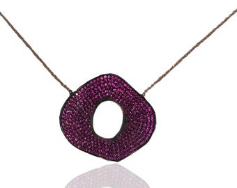 Pave Necklace, sterling silver fuxia, rosegold plated, gift for her