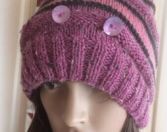 Pink Stripped Tweed Hat