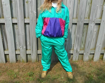 Vintage 90s Color Block Nylon Jacket Pants Two Piece Pullover Green Pink Purple Track Jogging Retro Hipster Hip Hop Suit Womens Size Medium