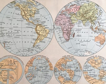 WORLD MAP.Old map. 1904's. Old print.Color. 12,2 ins  x 9,45 ins.Vintage Map.Vintage Print.Color Map
