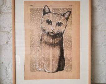 CATS No. 2. Printed drawing on recycled paper with highlights in black ink. 9,5x6,8in. Gift, Christmas, la petite illustration, cats