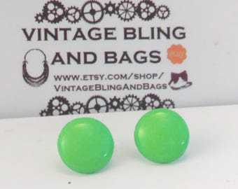 13mm NOS NEON GREEN 1980s earrings, small 1980s green earrings, 1980s earrings, green 1980s earrings, vintage 1980s earrings, 1980s earrings