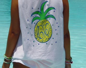 Crisp White Comfort Colors Tank Top with Pineapple Graphic | Austin LOVE Tees