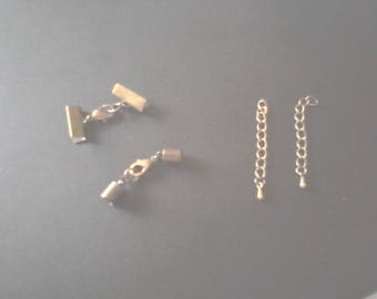 kit 2 bracelet brass bronze antique + two chains with extensions for cord 5mm and 2cm cord