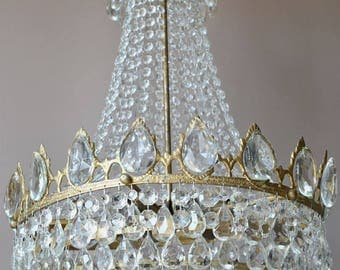LARGE MID CENTURY Empire Vintage Crystal Chandelier Lighting  Antique French Vintage Crystal Chandelier - Home and Living Fittings & Fixture
