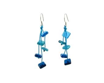 "Glass Squares and Thread Light ""Zen"" Earrings. Long, Colorful, Fun Summer Earrings. Geometric, long earrings. Blue, Green, Red Earrings"
