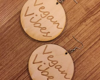 Vegan Vibes Wooden Earrings