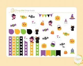 Kawaii Halloween Sampler Kit, Halloween Planner Stickers, Halloween Weekly Kit Sampler, Erin Condren Life Planner, Happy Planner