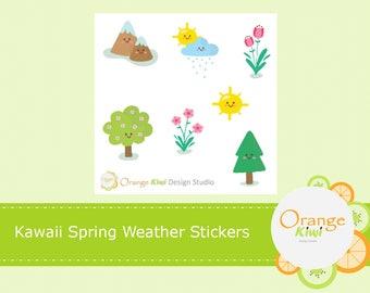 Kawaii Weather Stickers Sampler Set, Kawaii Spring Stickers, Kawaii Summer Stickers, Kawaii Planner Stickers, Erin Condren Life Planner