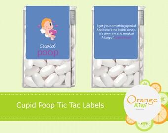 Cupid Poop Tic Tac Labels, Valentine's Day Stickers, Valentine's Day Tic Tac Stickers