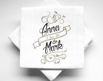 Design vintage fabric personalized wedding napkins