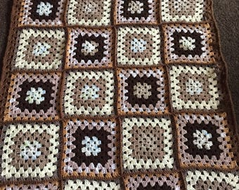 Crochet brown granny square baby blanket