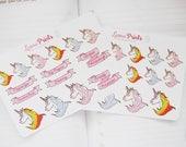 Rainbow Unicorn Planner Stickers | Stationery for Erin Condren, Filofax, Kikki K and scrapbooking