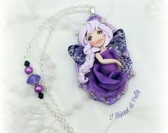 Collana con fatina delle rose viola