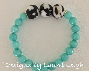 GOLD, Black, White and AQUA Jade Beaded Bracelet | turquoise, gemstone, gold plated, stretchy, Designs by Laurel Leigh