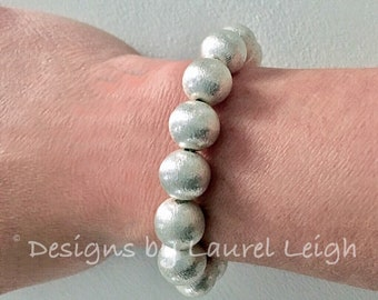 SILVER Beaded Bracelet | stretchy, Designs by Laurel Leigh