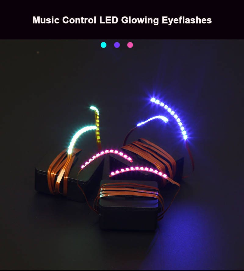 Led Neon Eyelashes Music Control Multiple Color Halloween Party