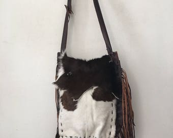 Glamour brown and white crossbody bag from real cow fur&old leather vintage style handbag handmade bag stylish designer bag has size-large.