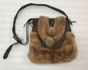 Hand made mink fur shoulder bag