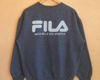 Rare !! Vintage Fila Big Logo Back Sweatshirt Pullover Crewneck Sweater Size LL