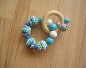Crochet baby toy, double ring with wood beads and bells