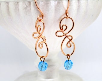 Blue bead dangle earrings, Copper Beaded earrings, Copper swirl earrings, Seventh Anniversary gift, Gift for her, Asian Style jewellery,