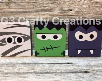 Monster decor, monster blocks, halloween blocks, halloween decor, halloween decoration, wooden decor, fall decorations, kids room decor