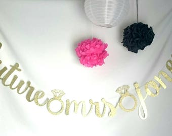 Future MRS banner, FUTURE MRS, bridal shower, bridal shower, Bachelorette party, custom future Mrs banner, Gold glitter banner, Custom