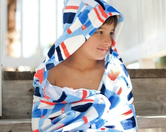 Nautical Monogrammed Boys Hooded Towel, Kids Monogram Beach Towel, Kids Pool Towel, Personalized Beach Towel, Boys Hooded Beach Towel