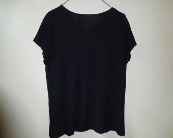 Vintage Short Sleeve Black Top by Croft and Barrow Size XL