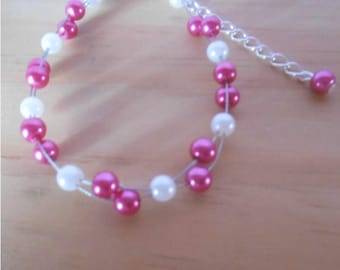 Wedding bracelet twist fuchsia and white
