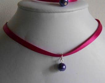 Wedding set adult/child pendant purple and fuchsia satin ribbon
