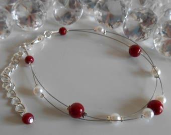 Wedding 2 bracelet Burgundy and White Pearl beads strands
