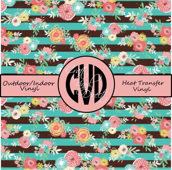 Floral Striped Patterned Vinyl // Patterned / Printed Vinyl // Outdoor and Heat Transfer Vinyl // Pattern 682