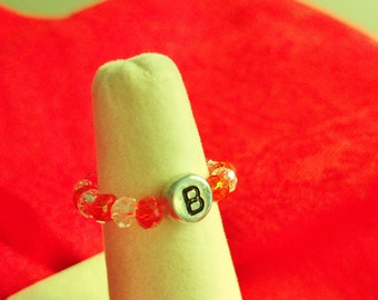 """Handmade Stretch RING Red & Clear Beads + Initial """"B"""""""