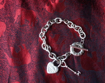 Stamped Tiffany & Co. 925 Jewelry, Returne To Tiffany  and Co. New York, 925, Heart Tag and key, Toggle Bracelet