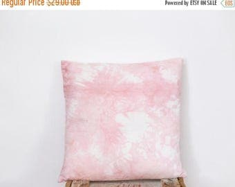 Pillow Cover in Rose Quartz - hand dyed, decorative pillow, 14 x 14 inches