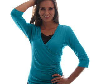 Wrap Style Nursing Top   Sea Green Breastfeeding Shirt   3/4 Sleeve Nursing Shirt   Breastfeeding Shirt   Baby Shower Gift   Gift Under 40
