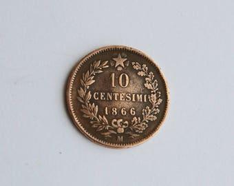 1866 10 Centisimi Coin - Vittorio Emanuele II RE D Italia