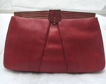 Judith Leiber Red Snakeskin Leather Clutch with Gold Detailing