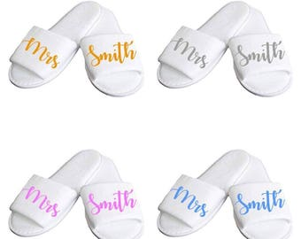Personalised Bridal Slippers Bride, bridesmaid, Maid of Honour, Mother of the Bride or groom Hen Do Party Spa Slippers Mrs To Be Gift Etc