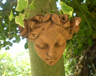 Vintage Reclamation French Terracotta Lady Courtyard Ivy Graden Wall Planter,Slight Damage.