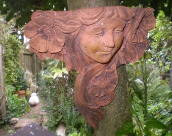 Vintage French Terracotta Lady Courtyard Ivy Graden Wall Planter,Architectural Salvage