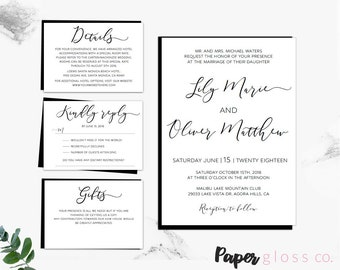 Printable Wedding Invitation Template. Calligraphy Wedding Invitation Set. Printable Wedding Invitation Card, Wedding Invitations Template