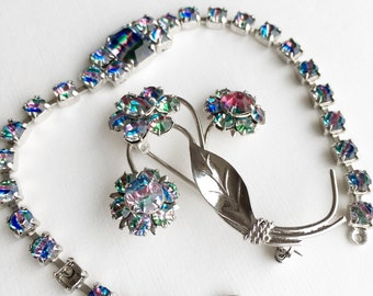 Collection of vintage costume jewelry iris rainbow glass  rhinestone glass bracelet brooch