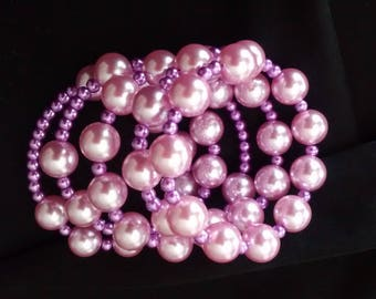 Bracelet with pink and purple beads pearls on memory wire