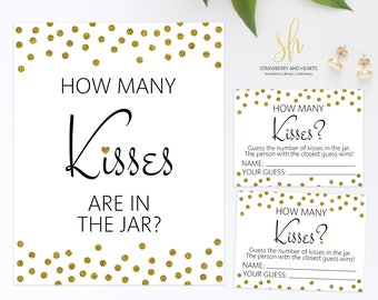 Printable Bridal Game, Guess How Many Kisses, Gold Confetti, Gold Glitter, Bridal Shower Game, Wedding Shower Game, Instant Download, SH08