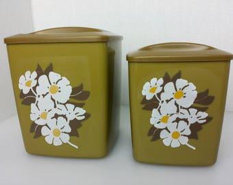 Canister Set Harvest Gold Avocado Green Floral Flower Power Daisy 1970s Vtg 4 pc