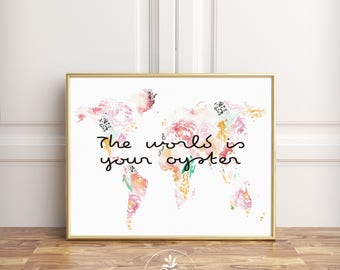 The World is your Oyster, calligraphy, digital download, nursery art, nursery print, woodland nursery, minimalist art by Faboomie
