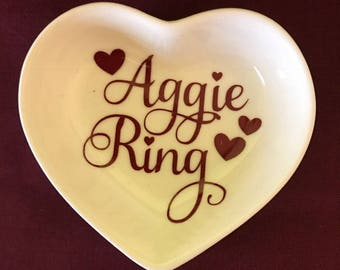 Texas A&M ring dish,Aggie ring dish, Texas Aggie ring dish,Aggie senior ring,Ring dish,Ring Day Gift
